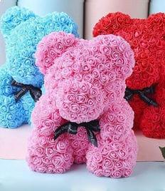 Мишка из искусственных 3D роз(фоамирана) - незабываемый подарок со скидкой до 50%! Есть доставка